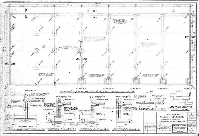 Martin industrial park building 1 drawings for House foundation plan